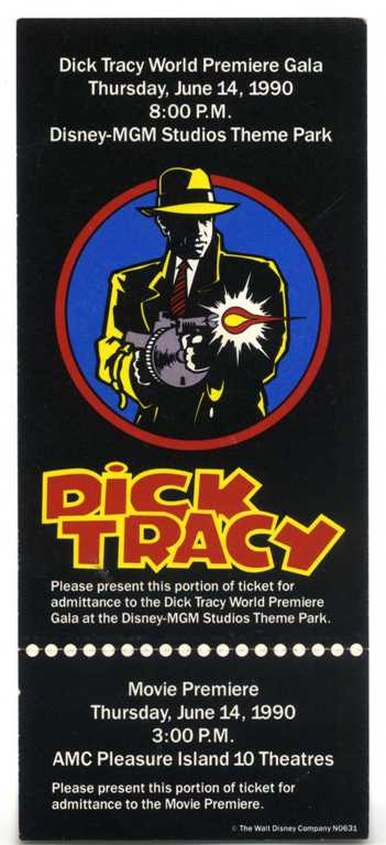 Dick Tracy Usa Premiere Ticket Promo Set