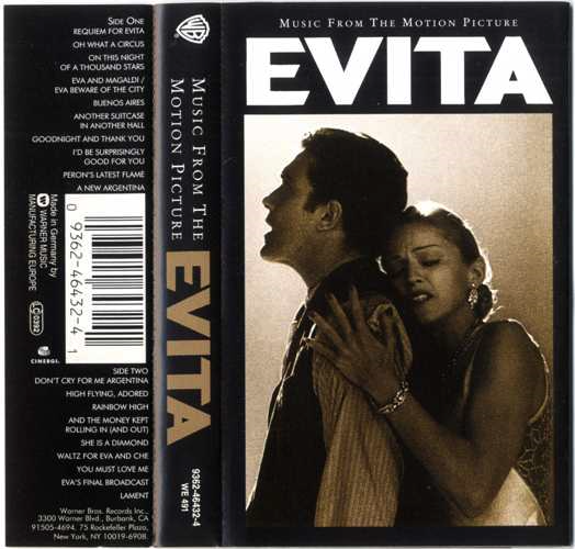 Evita Soundtrack Cassette Album