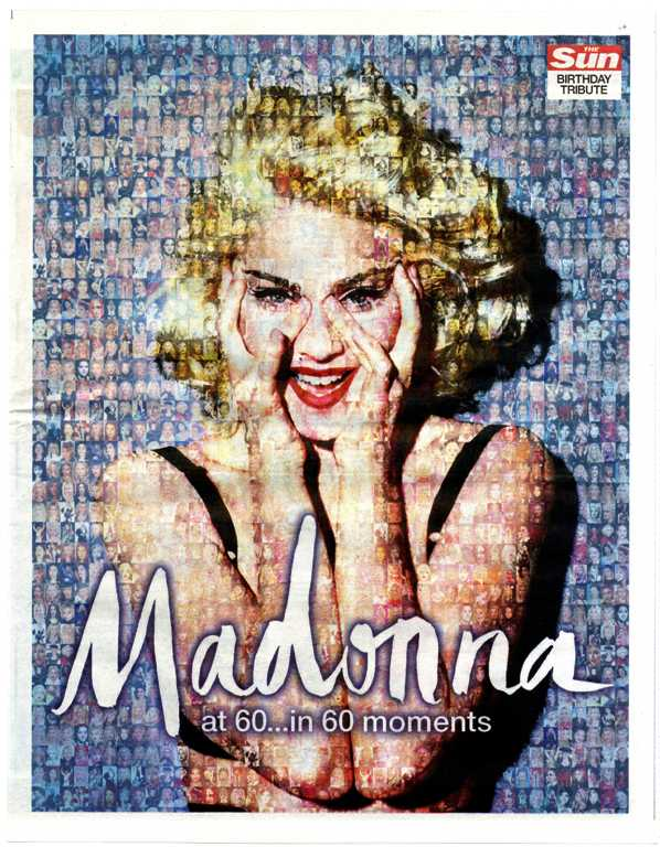 Madonna At 60 Birthday Tribute Uk 1 Day Newspaper Pullout August 2018